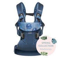 BABYBJORN ONE - nosidełko ergonomiczne, granatowy/motyw liści