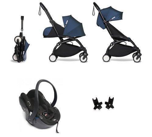 BABYZEN YOYO² - kompletny zestaw 0+ i 6+ czarna rama/tapicerka Air France Blue/fotelik samochodowy/adaptery