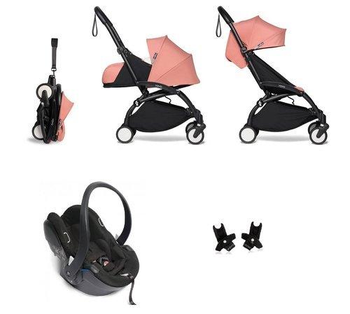 BABYZEN YOYO² - kompletny zestaw 0+ i 6+ czarna rama/tapicerka Ginger/fotelik samochodowy/adaptery