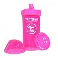 Twistshake - Kubek niekapek z mikserem do owoców, różowy 360ml