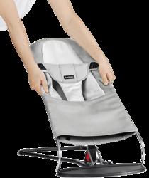 BABYBJORN - poszycie do leżaczka Balance Soft Jasnoszary/biały Mesh
