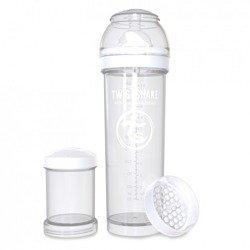 Twistshake - Antykolkowa butelka do karmienia, biała 330ml