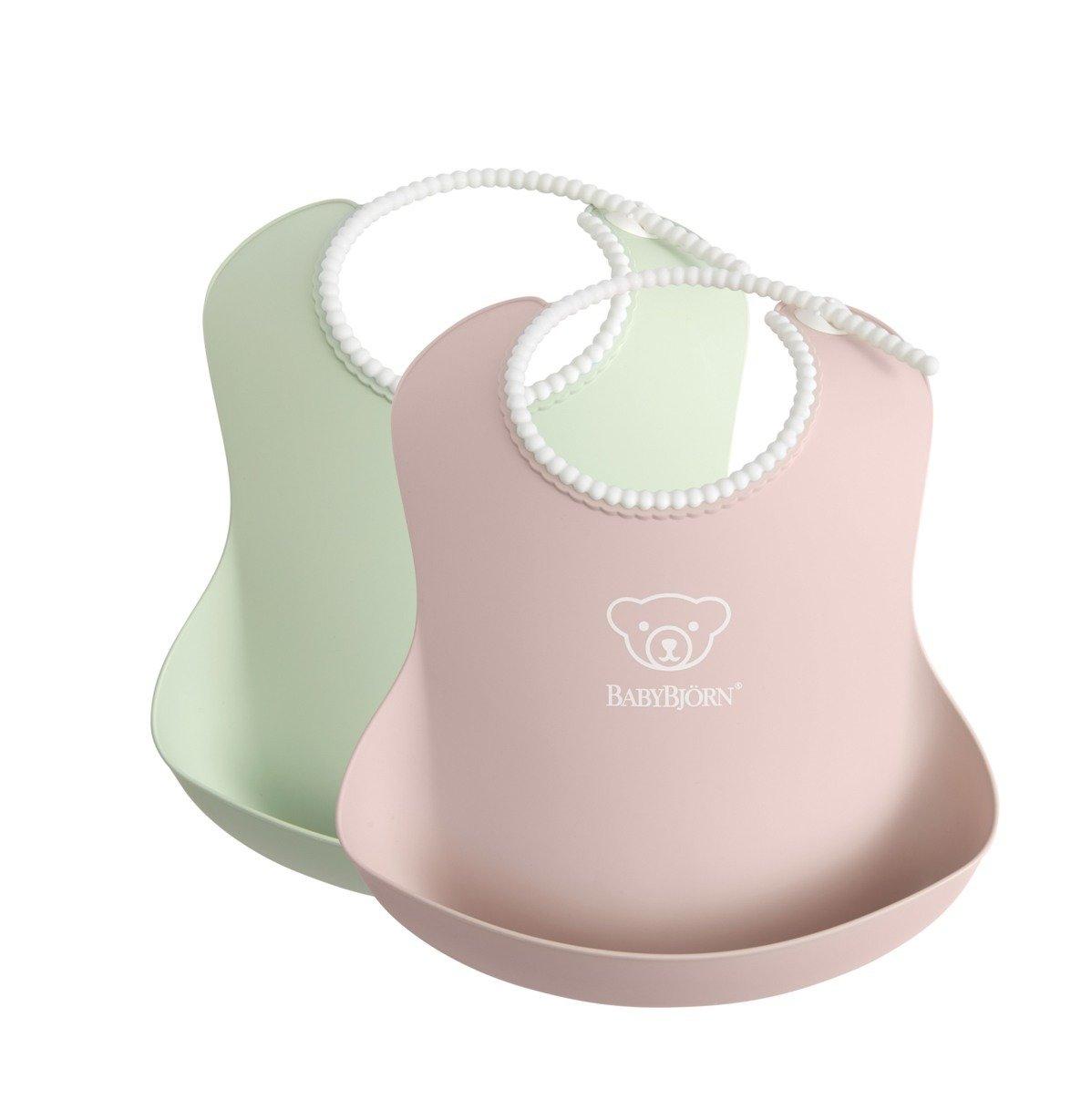 BABYBJORN - 2 śliniaki -  Powder Green/ Powder Pink
