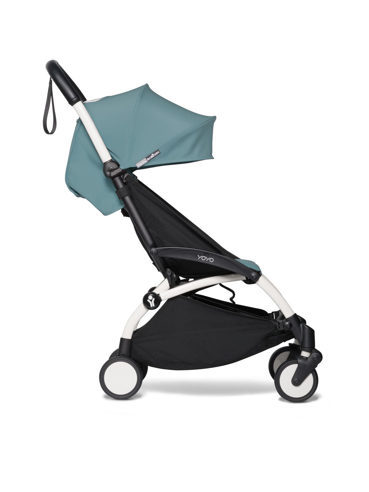 BABYZEN YOYO² - kompletny zestaw 0+ i 6+ biała rama/tapicerka Aqua/fotelik samochodowy/adaptery