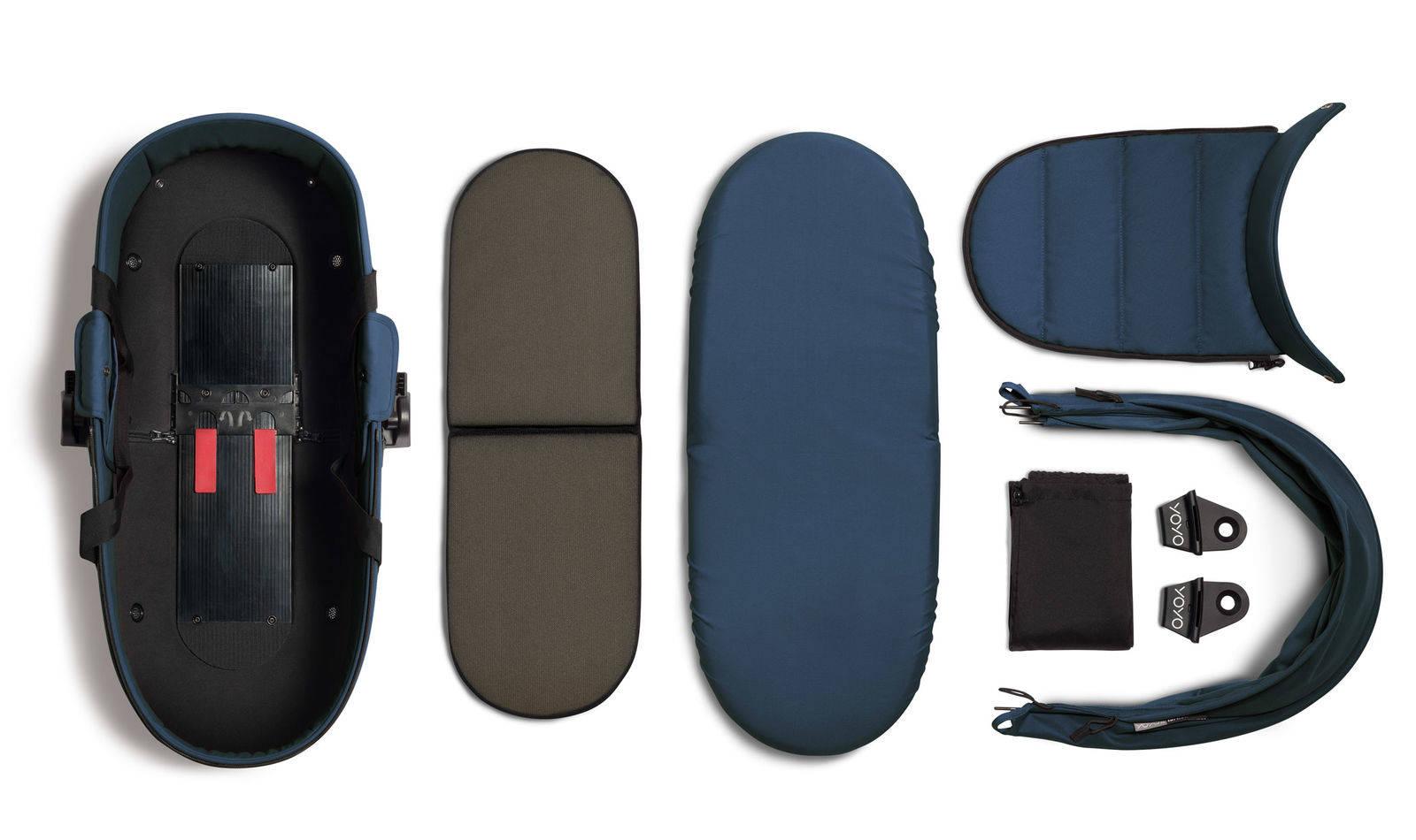 BABYZEN YOYO² - zestaw biała rama + gondola - Navy Blue
