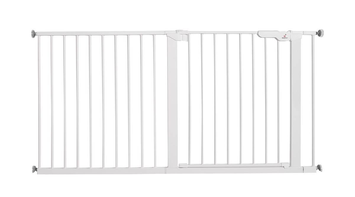 Baby Dan - Bramka ochronna PREMIER + 2 rozszerzenia 7 cm + panel 64,5 cm + 1 rozszerzenie 14 cm, biały