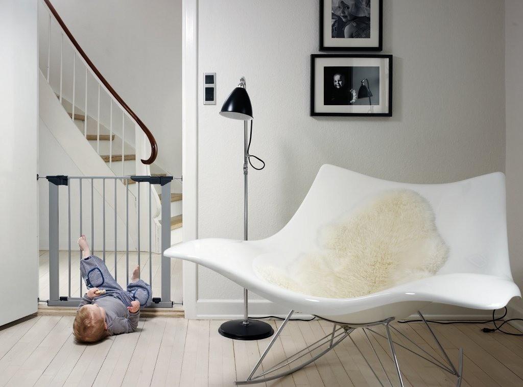 Baby Dan - Bramka ochronna PREMIER + 4 rozszerzenia, srebrny