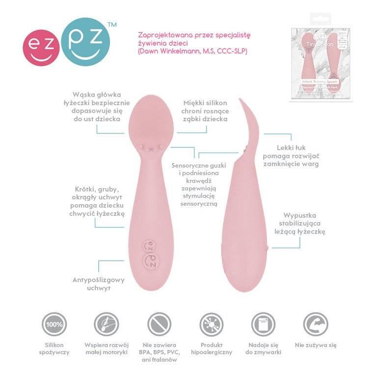EZPZ  - Silikonowa łyżeczka Tiny Spoon 2 szt., pastelowy róż