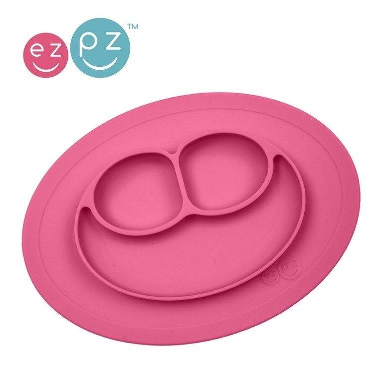 EZPZ - Silikonowy talerzyk z podkładką mały 2w1 Mini Mat różowy