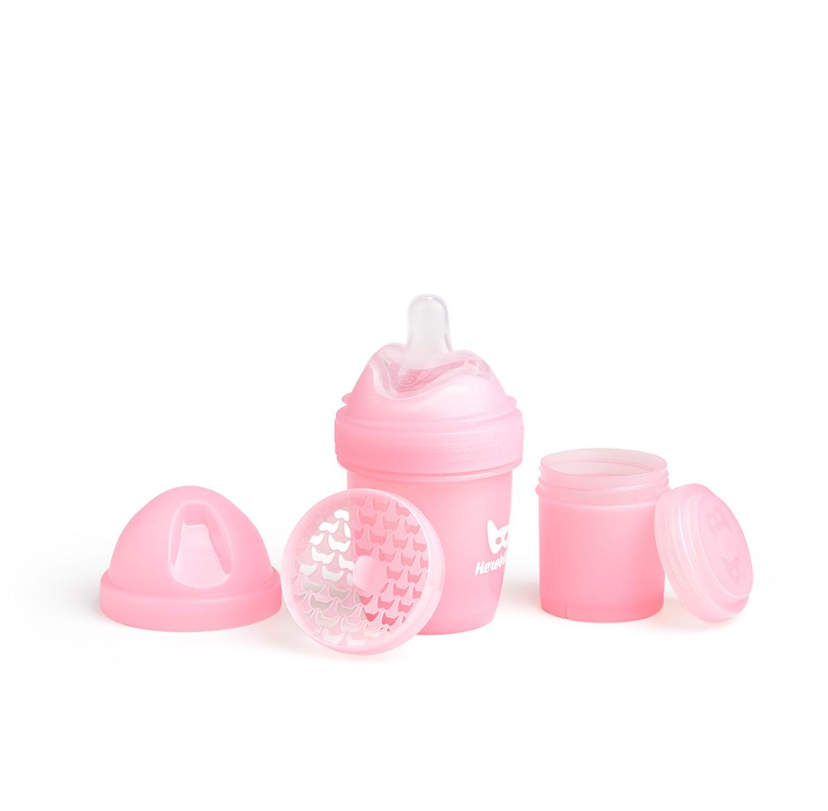 Herobility - butelka antykolkowa HeroBottle 140 ml, różowa + smoczek S (0 m+)