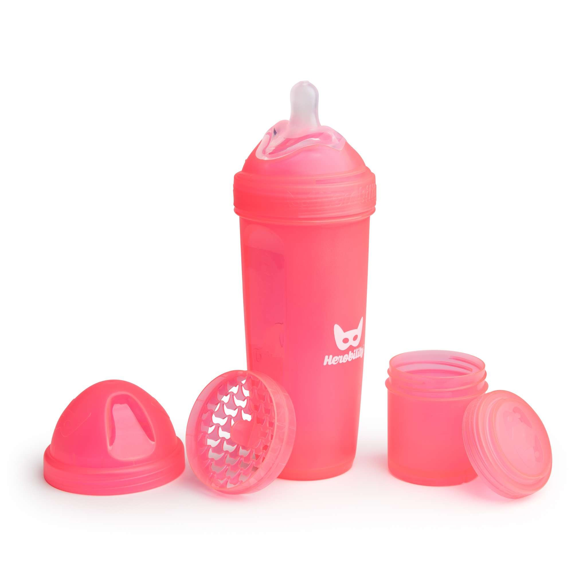 Herobility - butelka antykolkowa Herobottle 340 ml, koralowy + smoczek L (4 m+)