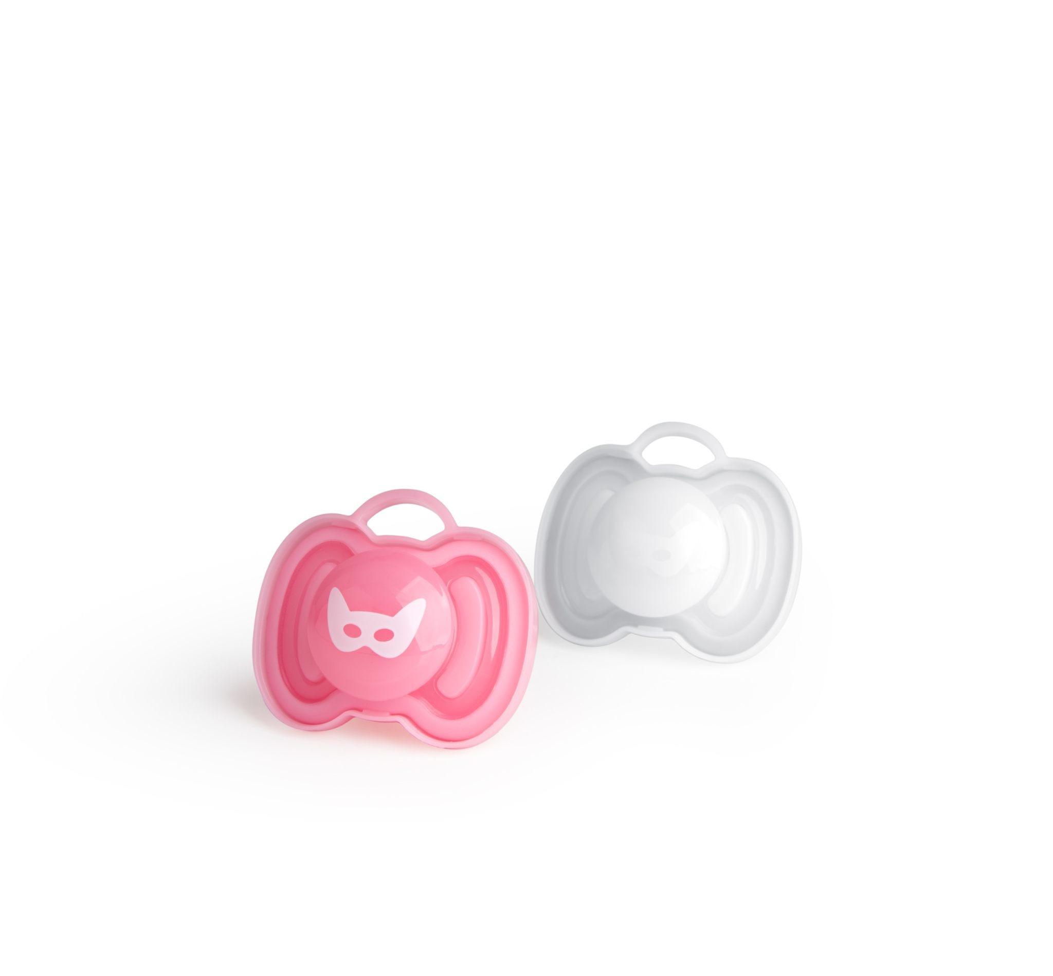 Herobility - smoczek uspokajający HeroPacifier, 0 m+, różowy/biały, 2 szt.