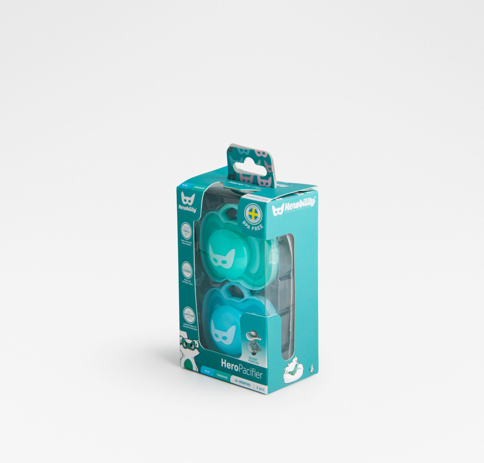 Herobility - smoczek uspokajający HeroPacifier, 6 m+, niebieski/turkusowy, 2 szt.