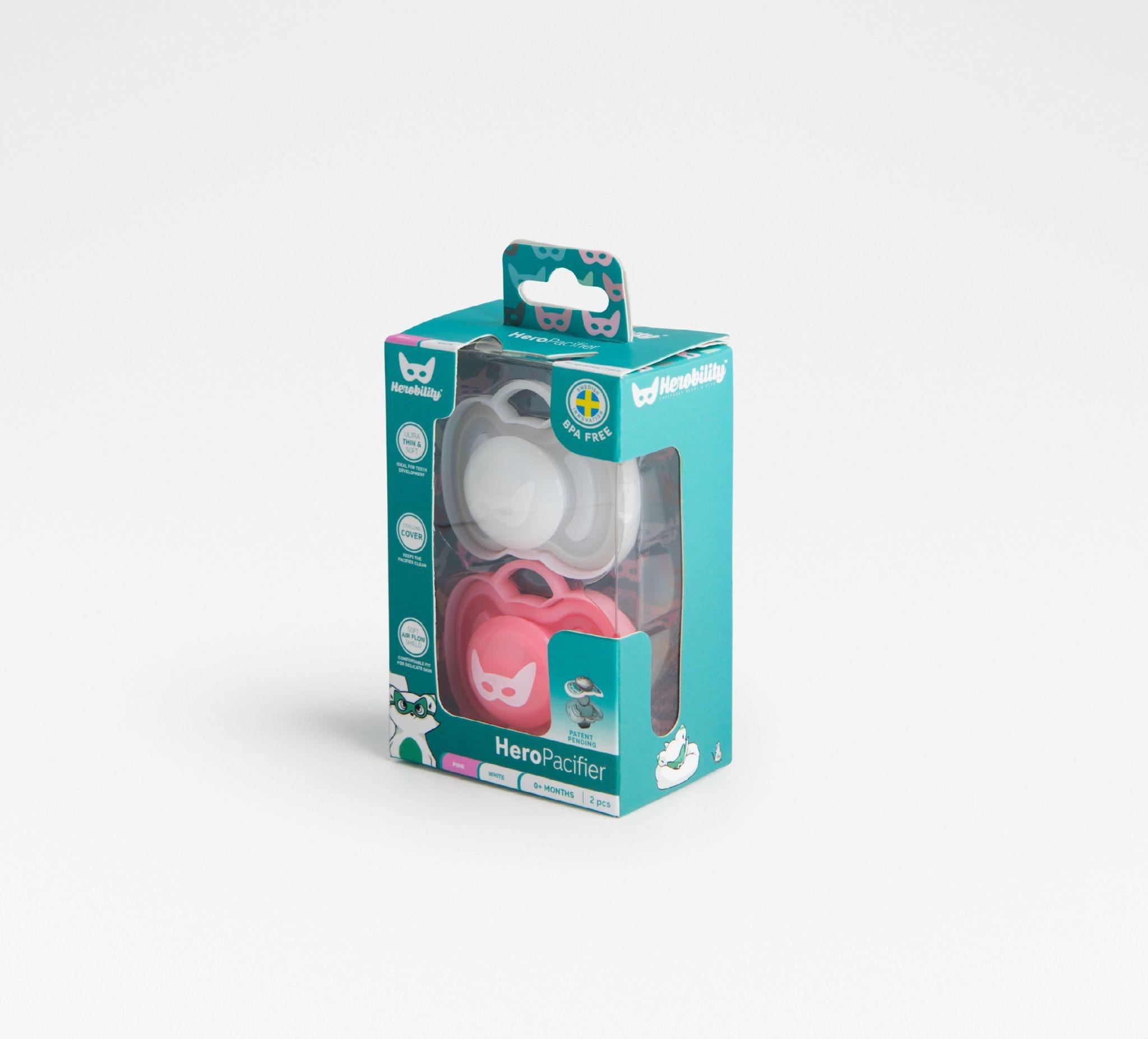Herobility - smoczek uspokajający HeroPacifier, 6 m+, różowy/biały, 2 szt.