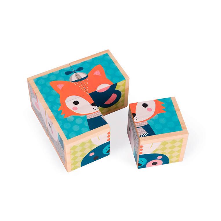Janod - Klocki drewniane Puzzle 6w1 Las
