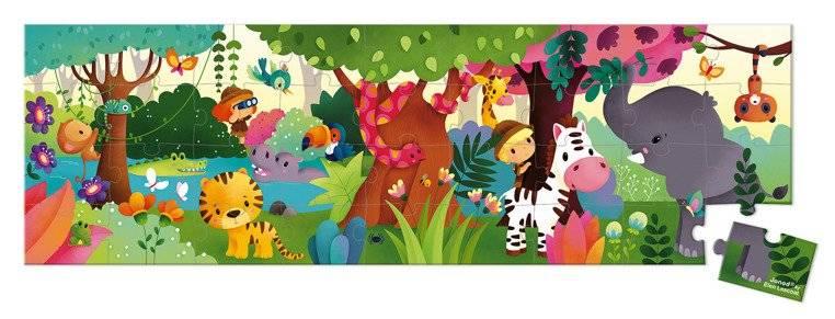 Janod - Puzzle panoramiczne w walizce Dżungla 36 elementów