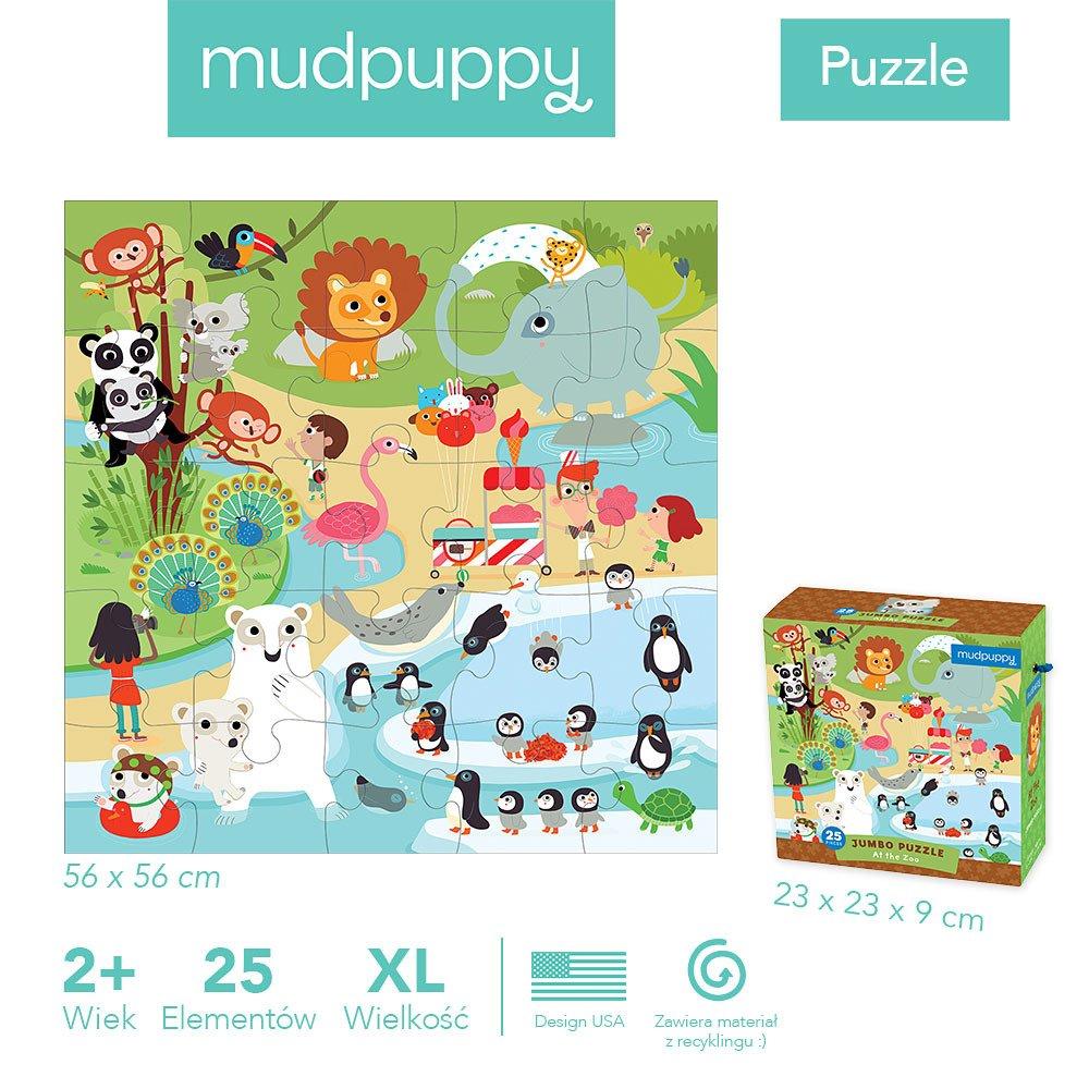 Mudpuppy - Puzzle podłogowe Jumbo W ZOO 25 elementów 2+