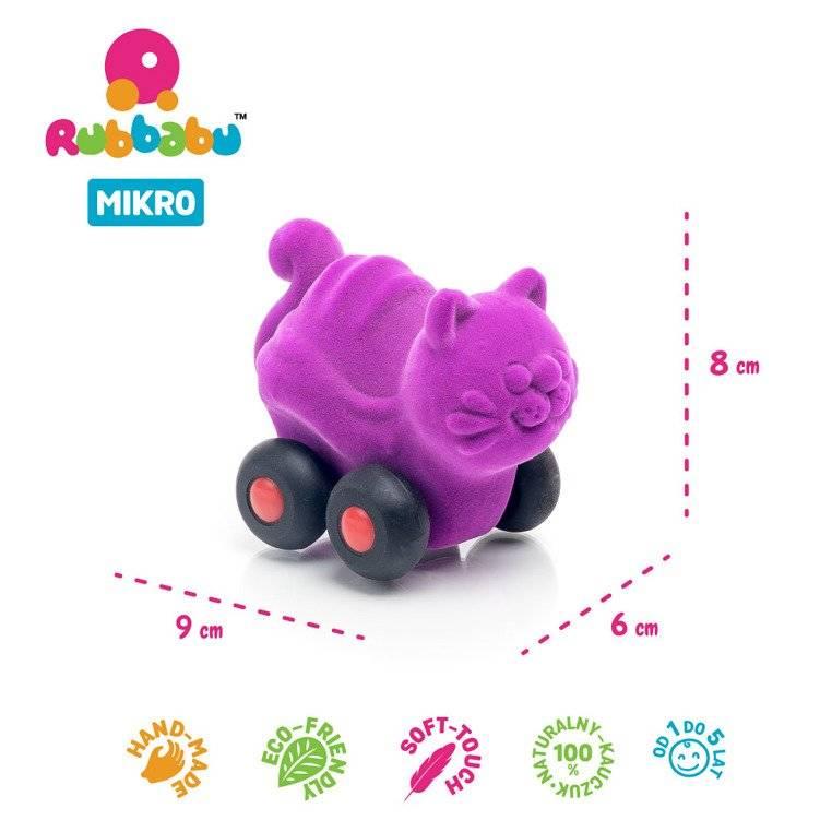 Rubbabu -  Zestaw 8 sensorycznych zwierzątek-pojazdów mikro