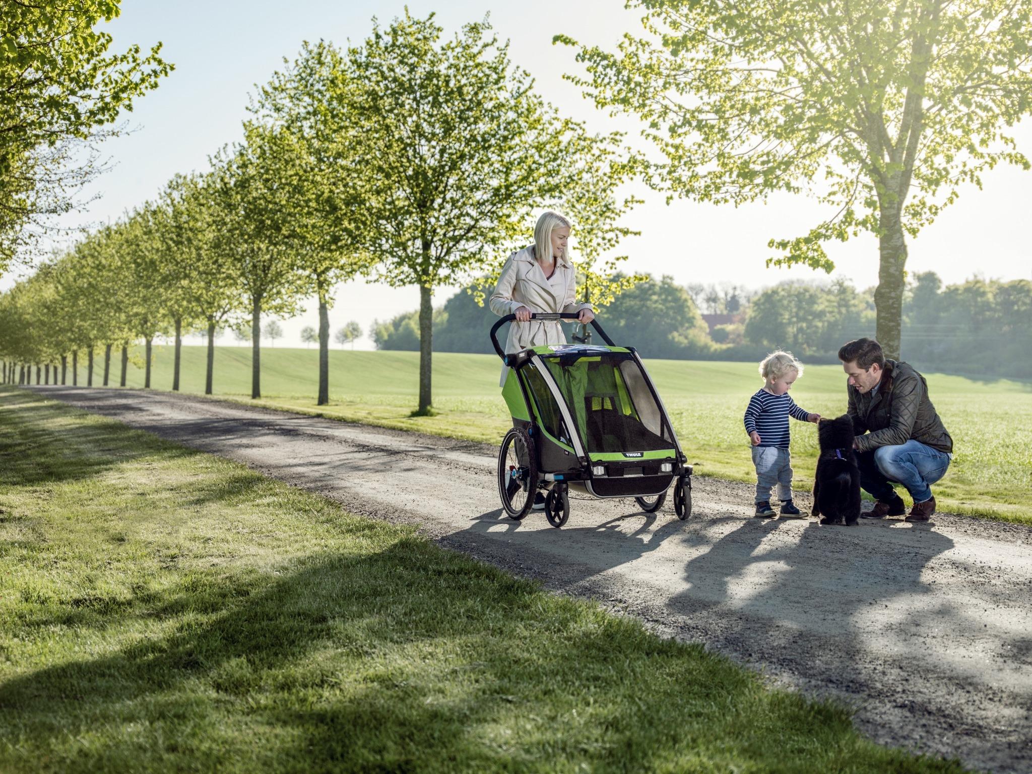 Wózek do biegania, podwójny - THULE Chariot Cab 2 - oliwkowy/szary