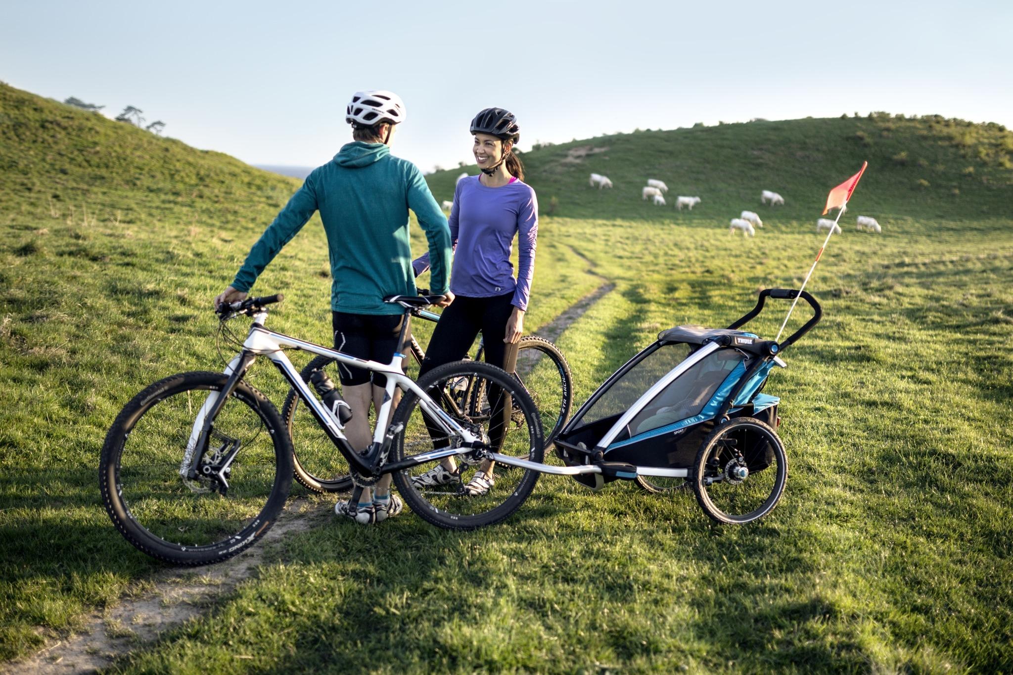 Wózek do biegania, podwójny - THULE Chariot Sport 2 - zielony/niebieski
