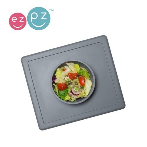 EZPZ - Silikonowa miseczka z podkładką 2w1 Happy Bowl szara