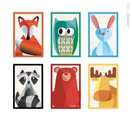 Janod - Klocki drewniane 6 elementów puzzle Baby Forest