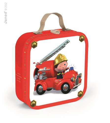 Janod - Puzzle 4w1 Wóz strażacki Jacka