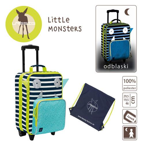 Lassig- Walizka z torbą na buty i pranie Little Monster granat