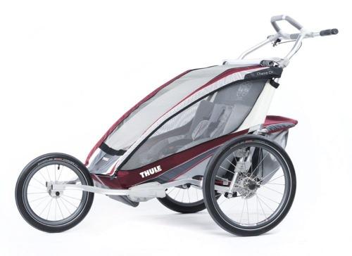 THULE Chariot CX2 czerwony, podwójny wózek do biegania + zestaw rowerowy