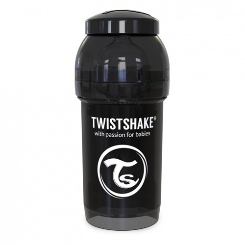 Twistshake - Antykolkowa butelka do karmienia, czarna 180ml