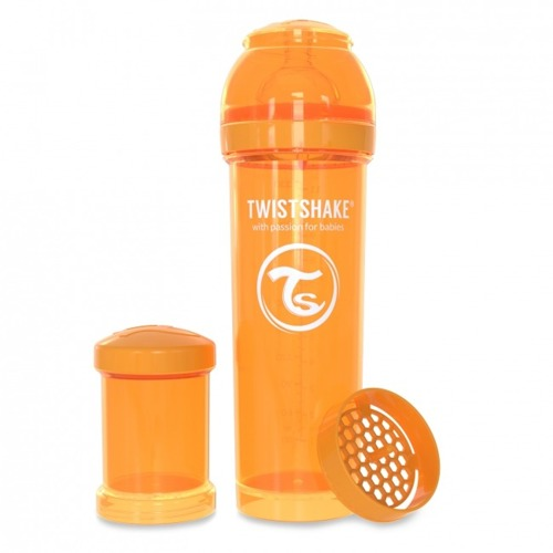 Twistshake - Antykolkowa butelka do karmienia, pomarańczowa 330ml
