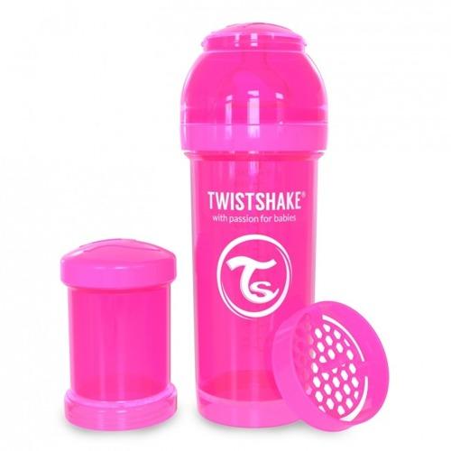 Twistshake - Antykolkowa butelka do karmienia, różowa 260ml