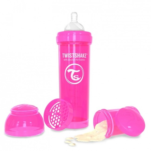 Twistshake - Antykolkowa butelka do karmienia, różowa 330ml
