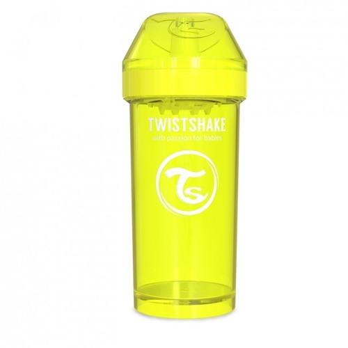 Twistshake - Kubek niekapek z mikserem do owoców, żółty 360ml