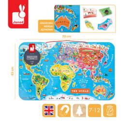 Janod - Puzzle magnetyczne Mapa świata