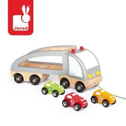 Janod - Samochód drewniany laweta do ciągnięcia